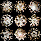 15-100 Bulk Gold Pearl Crystal Flower Brooch Pin Wedding Bouquet Wholesale Lot