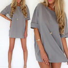 Nice Women's Loose Chiffon T Shirt Tops Half Sleeve Short Dress Casual Blouse
