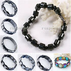 "6.5-8"" Elastic Natural Hematite Magnetic Therapy Healing Bracelet Bangle Cuff fb"