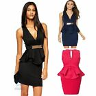 Sexy V Neck Sleeveless Peplum Mini Elastic Bodycon Formal Evening Party Dress