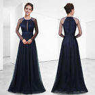Women's Navy Blue Round Neck Long Prom Party Formal Evening Dress 08553