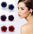 Rose Flower Crystal Rhinestone Ear Stud Pierced Earrings New Women Lady Fashion