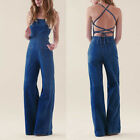 Prese lVINTAGE BACKLESS HIGH WAIST DENIM JEANS JUMPSUIT WID LEG PLAYSUIT ROMPERS