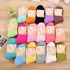 Women Ladies Candy Color Super Cozy Fuzzy Socks Warm Bed Socks Ankle Length