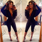Womens Black V Neck Plunge Batwing Bodycon Jumpsuit Playsuit Sexy Party Dress