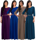 NEW Womens Round Neck 3/4 Sleeve Empire Waist Long Maxi Dress S M L XL 2X