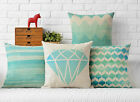 Cotton/Linen Cushion Cover Shell Throw Pillow Case green diamond wave 1 pc 18""