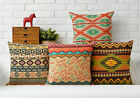 Cotton/Linen Cushion Cover Shell Throw Pillow Case Geometry Boho plaid 1 pc 18""