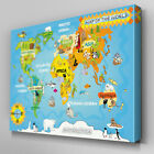 AB466 Kids Map of the World Canvas Wall Art Ready to Hang Picture Print