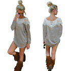 Womens Long Sleeve Lace Top Blouse Shirt Sweater Jumper Pullover Sweatshirt Hot