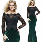 Womens Sexy Lace Off Shoulder Formal Party Evening Bodycon Maxi Long Dress 1425