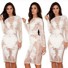 Sexy Women Long Sleeve Bodycon Sheer Lace Evening Party Cocktail Dress Clubwear