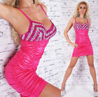 Womens Sequins Embellished Strappy Sexy Party Bodycon Mini Dress size 8 Club Bra