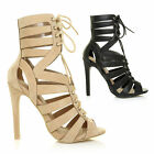 NEW WOMENS LADIES HIGH HEELS STILETTOS CUT OUT ANKLE STRAPPY PEEP TOE GLADIATORS