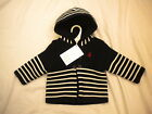 KNITTED NAUTICAL BABY BOYS HOODED JACKET DOUBLE LINED 0/3 3/6 6/9 9/12 NAVY/WHIT