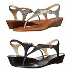 Coach Womens Vitalia Slip On Thong Toe Buckle Ankle Strap Flats Wedges Sandals