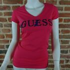Tee shirt Guess manches courtes Femme W52I38 Rose ,Taille XS S M L