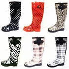 Women's Rain Boots Wellies Mid Calf Rubber Waterproof Rain & Snow Boots, Sizes
