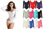 NEW WOMENS PLAIN LONG SLEEVE BASIC STRETCH JERSEY LEOTARD BODYSUIT SIZE 8-14
