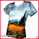 VINCENT VAN GOGH WHEATFIELD CYPRESSES PAINTING T SHIRT TOP FINE ART PRINT