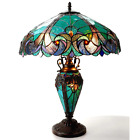 Tiffany Style Halston Double Lit 2+1 Light Turquoise Amber Art Glass Table Lamp