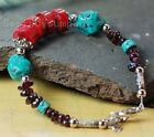 New Tribal Lady Turquoise Red Coral Garnet Handcrafted Bracelet B2545