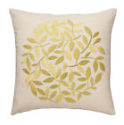 EMBROIDERED CUSHION COVER RANGE, 17 INCH (43cm) LEAF DESIGN  6 STUNNING COLOURS
