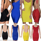 Women's Deep V Neck Open Backless Bodycon Stretch Bandage Mini Party Prom Dress