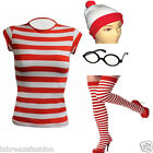LADIES WOMENS HALLOWEEN FANCY DRESS COSTUMES RED WHITE WHERES WALLY COSTUME OUTF