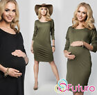 Ladies Maternity Shift Dress Long Sleeve Scoop Neck Plus Sizes 8-18 FM11
