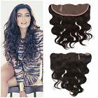 "Ear to ear Brazilian Virgin human Hair 13""x4""Lace frontal Closure body wave Hot"