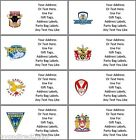 PERSONALISED RUGBY SUPER LEAGUE TEAM ADDRESS, PARTY BAG, GIFT TAG LABELS