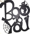 Halloween Black Glitter Sign Boo to You, Spooky, Scary, Beware Hanging Decor NWT