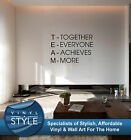 TEAM INSPIRATIONAL QUOTE STICKER WALL ART VARIOUS COLOURS