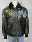 Mens Real Leather Vintage Brown Jacket Fur Pilot New Aviator Rock Bomber Patches