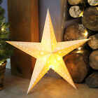 WARM WHITE LED BATTERY PAPER 3D STAR CHRISTMAS DECORATION HANGING LIGHT 45CM