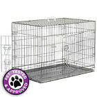 Folding Dog Pet Crate Cage Kennel House w / Metal Pan - Silver