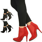 New Womens High Stiletto Heels Ladies Chelsea Ankle Boots Pointed Shoes Size UK
