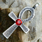 Ankh Cross of life Celtic Acrylic Crystal Element Red Ruby July pewter pendant