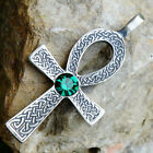 Egypt Celtic Ankh Cross of life Acrylic Crystal Green Emerald May pewter pendant
