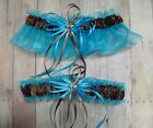 Deer Hunting Camouflage Wedding Garters on Turquoise blue ( Camo garter )