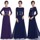 Ever Pretty Women's Elegant Blue Long Sleeve Evening Formal Prom Dress 08635