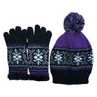 Womens Hats & Gloves Set In Snowflake Christmas Print UK Seller Fast Delivery
