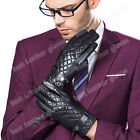 New Men's Winter Genuine Lambskin Leather Gloves For Men Black Motorcycle Gloves