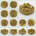 25mm Metallic gold coated drusy druzy crystly agate round square cab cabochon