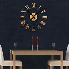 Retro Analog DIY Wall Clock Creative Home Decor Black/Gold Roman Numerals