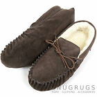 Ladies / Womens Suede Moccasin / Sheepskin Slipper Soft Suede Sole - Dark Brown