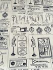 French Retro / Vintage Style - Sewing Theme 100% Cotton Poplin Fabric - Ivory