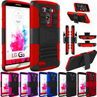 Armor Protective Holster Kickstand Case with Locking Belt Swivel Clip for LG G3