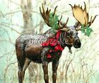 CHRISTMAS MOOSE IN THE WOODS Quilting Fabric Block